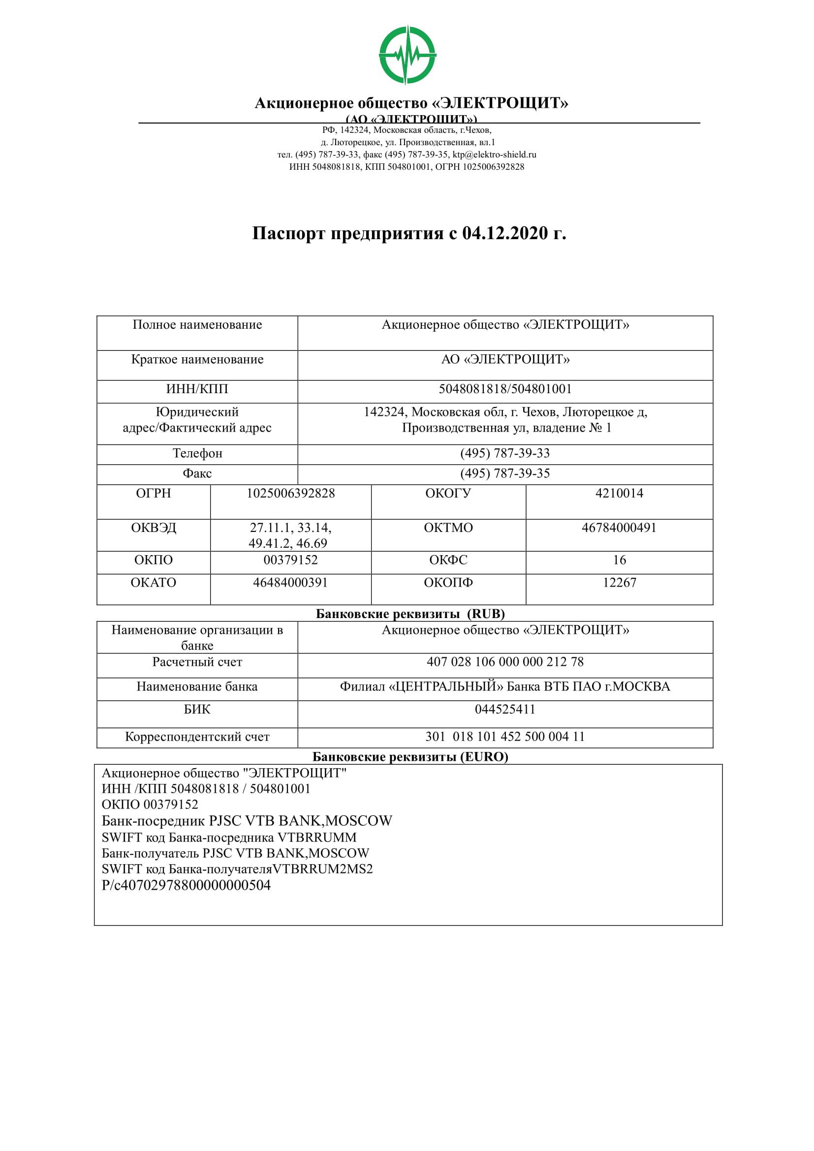 Паспорт предприятия АО Электрощит с 04.12.2020-1